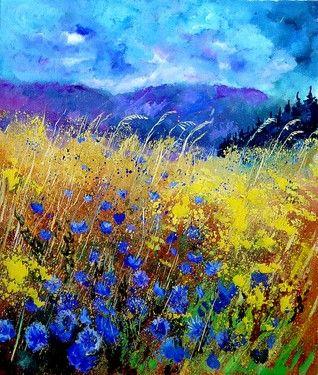 "Saatchi Online Artist Pol Ledent; Painting, ""Blue cornflowers"""