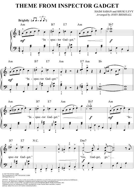 Inspector Gadget Theme Sheet Music: www.onlinesheetmusic.com