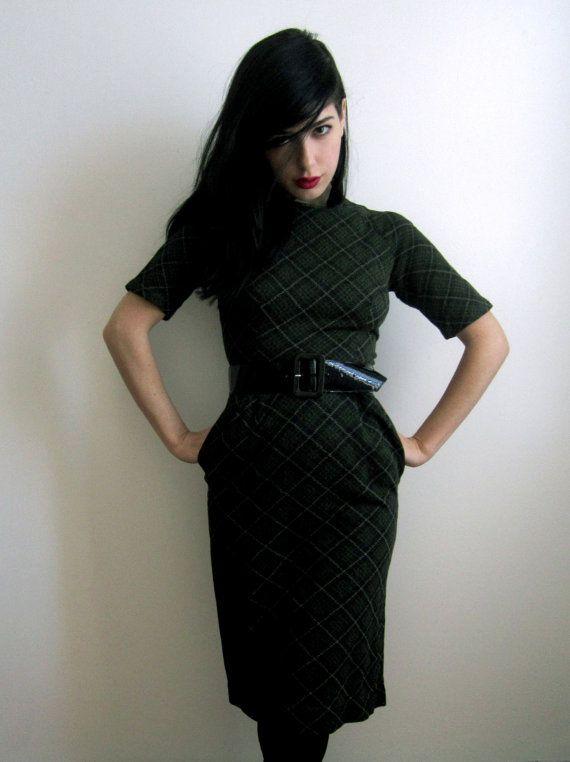 Olive Green and Black Plaid Dress.