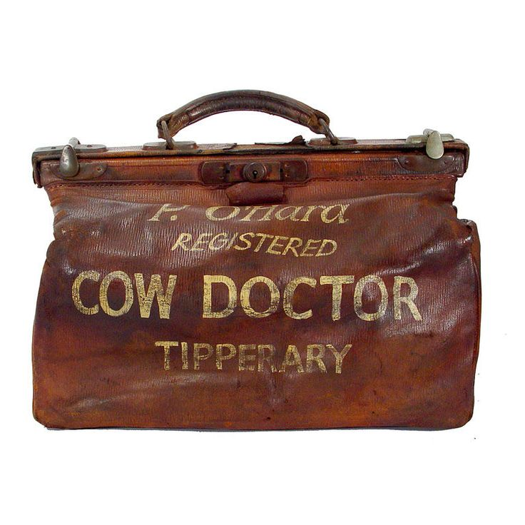 """Ireland (Tipperary). Leather """"cow doctor"""" medical bag. 1800s. h12w16d9"""