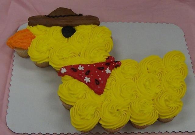 Remove the bandana/hat    Cowboy Duck Cupcake