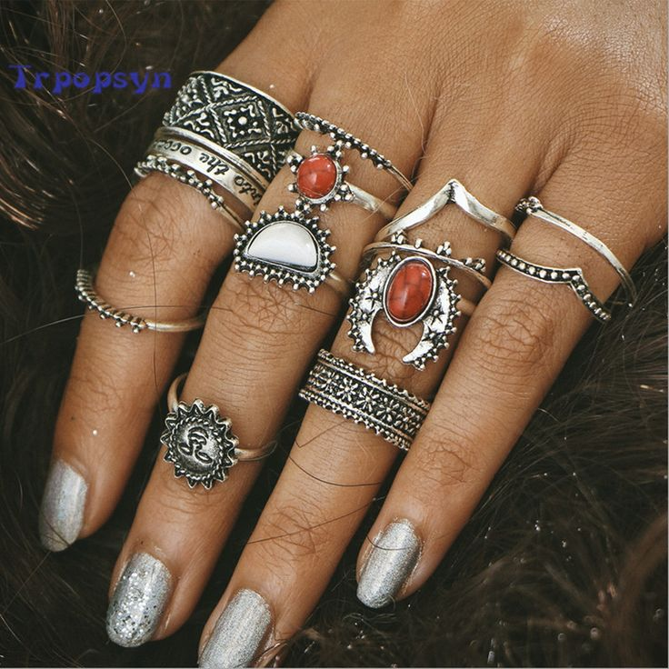 Bohemian Rings 14 Piece Set @theBohoFairy  14 pcs/Set Antique Silver Color Moon And Sun Midi Ring Lovely set! These rings will make you look stylish and beautiful! Check the sizes before you order please ** Free Shipping Worldwide     https://bohofairy.com/shop/bohemian-rings-14-piece-set/ #BohoFairy #bohemian #boho #bohochic #AntiqueSilver, #Coral, #Fashion, #Rings, #Trendy