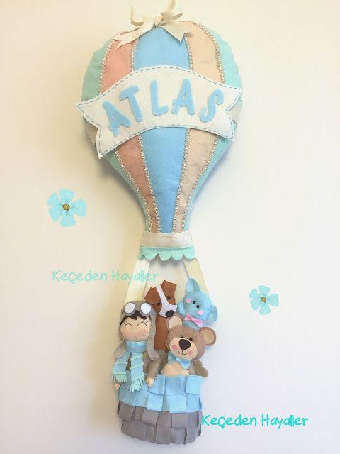Felt Hot Air Balloon - Keçe uçan balon kapı süsü