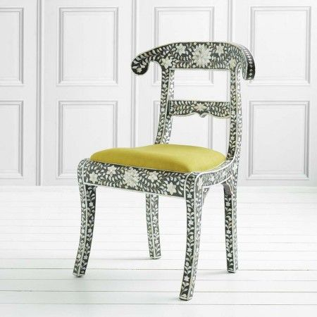 Grey Regency Chair with Yellow Seat - Chairs & Armchairs - Furniture