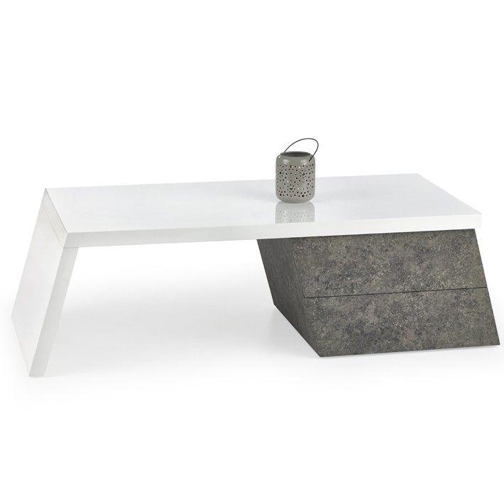 Table basse blanc laqué et gris béton Fara