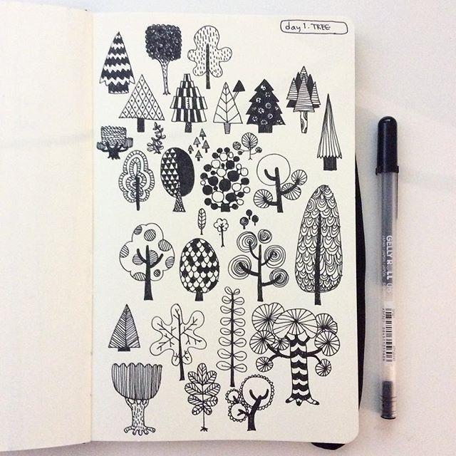 Day 1, TREE #CBDrawADay #creativebug #sketchbook #linedrawing #moleskineart