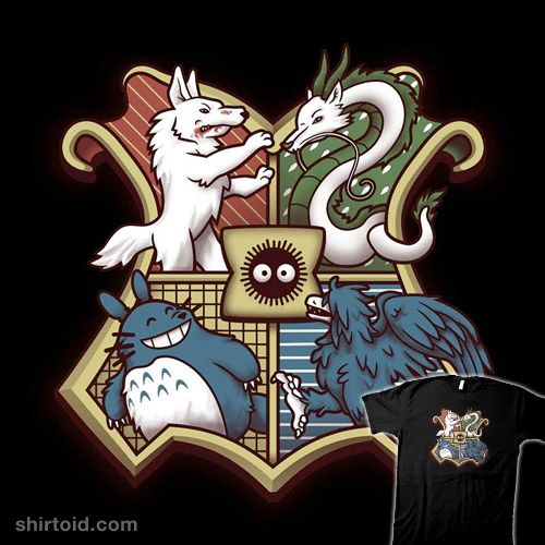 """Ghibliwarts"" by chocopants Crest design featuring iconic characters from Princess Mononoke, Spirited Away, My Neighbor Totoro, and Howl's Moving Castle"