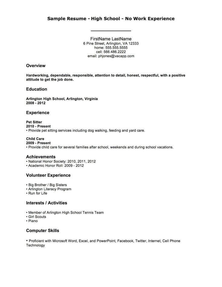 Example Of Resume With No Work Experience For Highschool Students