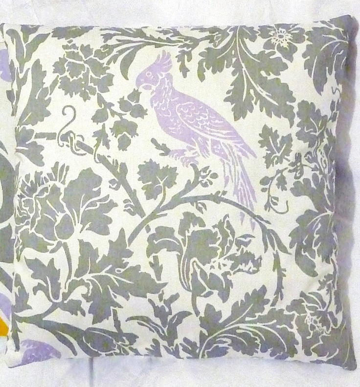 Gray Lavender White Bird Floral Home Decor Cotton Bed Sofa Living Room Throw Pillow Cover grey Premier Prints Designer Fabric. $15.00, via Etsy.