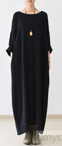 2017 FALL THIN BLACK LINEN DRESSES LONG SLEEVE LINEN CAFTANS GOWN