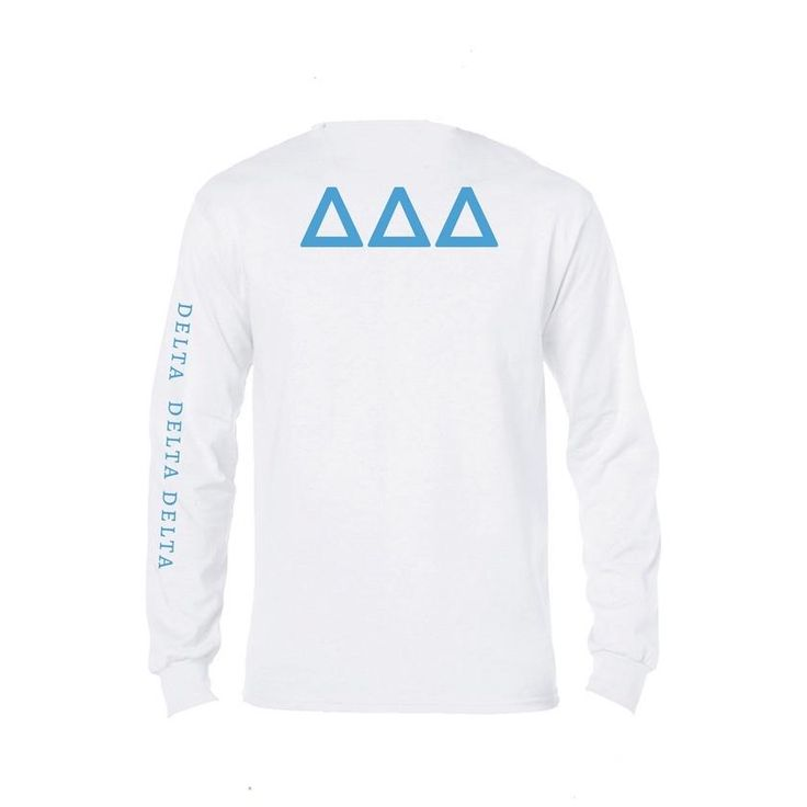 Tri Delta Long Sleeve Shirt . Symbol + Sorority Name Down Arm + Greek Letters