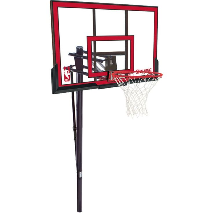 """Spalding 48"""" Polycarbonate In-Ground Basketball Hoop, Silver"""
