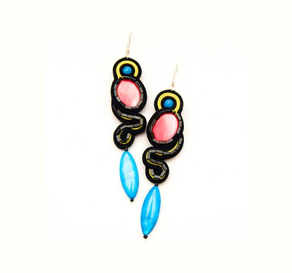 Mexican bright neon colors long soutache by MANUfakturamaanuela, $43.00