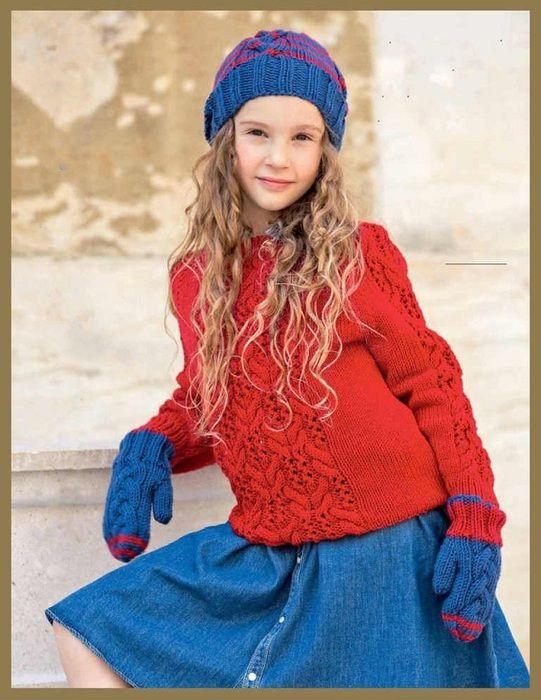 Озорные петельки: Пуловер Шапка Варежки для девочки