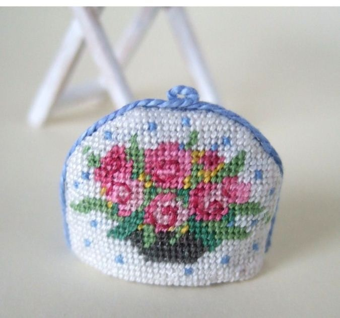 Miniature Needlepoint Tea Cosy