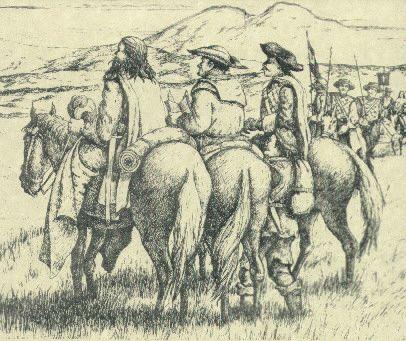 Re: Comanches (Cuerno Verde) contra Españoles. /// Oficiales españoles a caballo supervisando la disposición de las tropas.