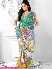 Printed Sarees:-Give an elegant look by wearing this Persian Green shaded tie and dye inspired line patterns in green and yellow lines printed on all over the saree. Pallu highlighted with solid bright yellow shade lines. Saree framed with solid panels of less border, pallu patch border. $25.93 matwali.com