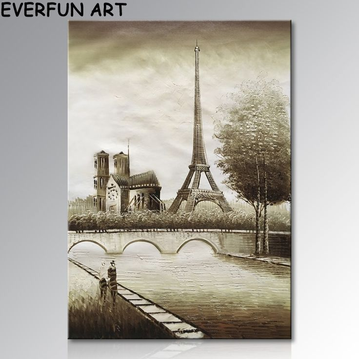 EVERFUN ART Framed Hand Painted Wall Canvas Art City Landscape Style Eiffel Tower Oil Painting
