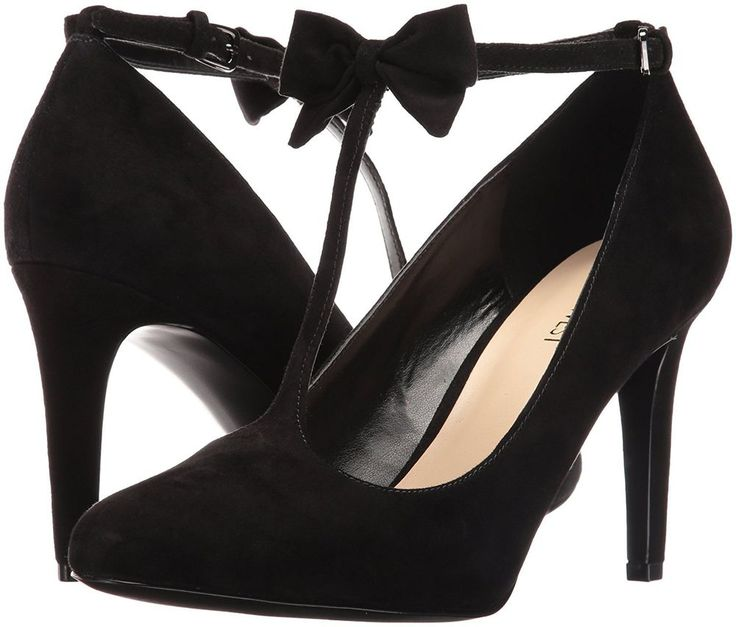 NINE WEST Womens 8.5 M T-Strap Dress Heels Black Suede Leather Bow HOLLISON  NEW