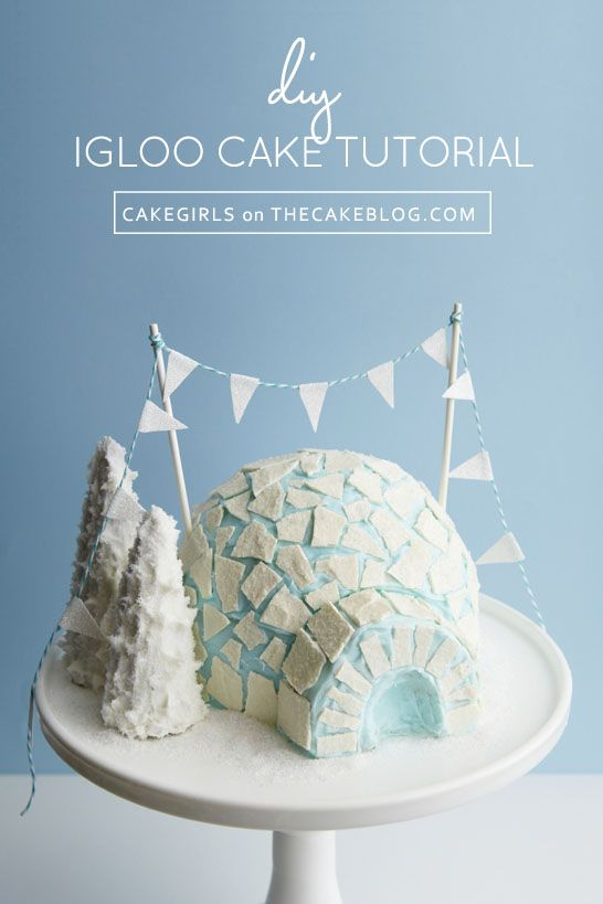 Learn how to make this DIY Igloo Cake with frosty ice pieces, sparkling trees and glitter flag banner. A step-by-step tutorial from Mary & Brenda Maher of the Cakgirls.