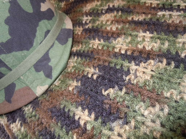 Camouflage Army Military Crocheted Afghan To Be