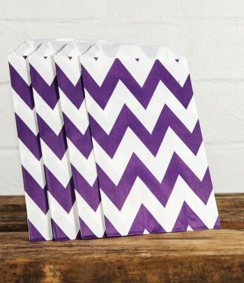 Purple chevron lolly bag www.qualitytimepartysupplies.com.au