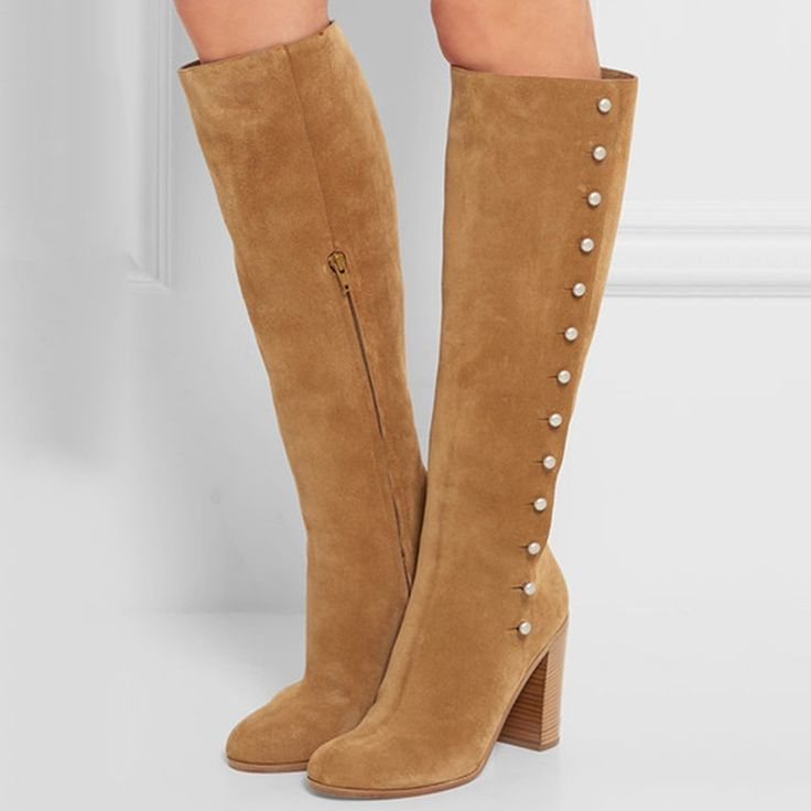 Shoespie Decent Brown Simply Button Hoop Knee High Wide Boots