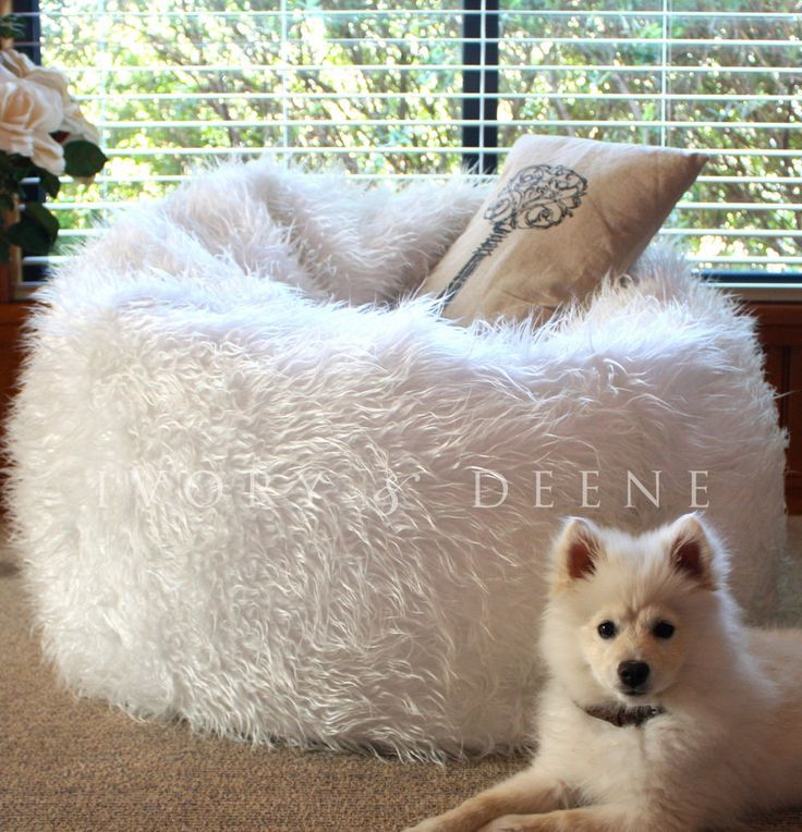 NEW SHAGGY WHITE FUR BEAN BAG+Liner Plush Soft Bedroom Luxury Lounge Movie Chair #IvoryDeene #ShaggyRound 61.00