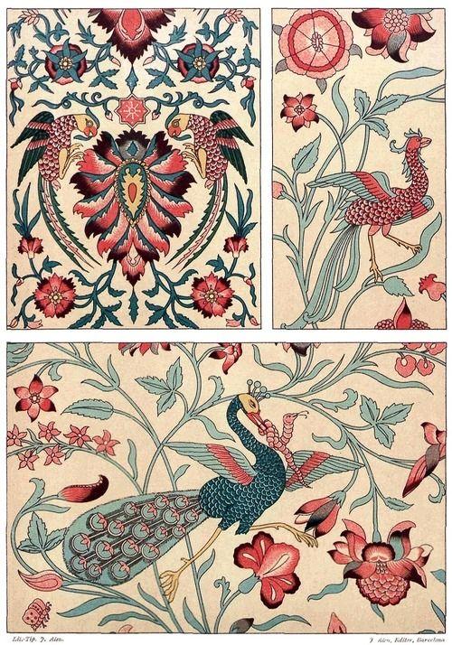 oldbookillustrations: Persian art: printed fabric. From Galería del arte decorativo (Gallery of Decorative Art) vol. 2, collective work, Barcelona, in 1890. (Source: Universitat Autonoma de Barcelona)