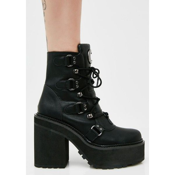 Killstar Broom Rider Boots ($145) ❤ liked on Polyvore featuring shoes, boots, platform shoes, black platform boots, black lace up shoes, black platform shoes and black shoes