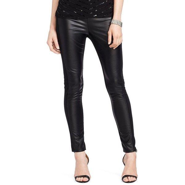 Lauren Ralph Lauren Faux Leather-Front Leggings ($61) ❤ liked on Polyvore featuring pants, leggings, black, black faux leather pants, imitation leather pants, faux leather trousers, black leggings and vegan leather leggings