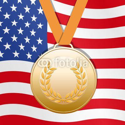 Bronze medal on United States flag background