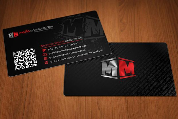 Media Marketers Foil Stamp Business Cards Created On 16pt Silk Satin Stock With