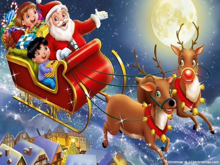 28 best Santa Flying Reindeer Sleigh Wallpapers images on ...