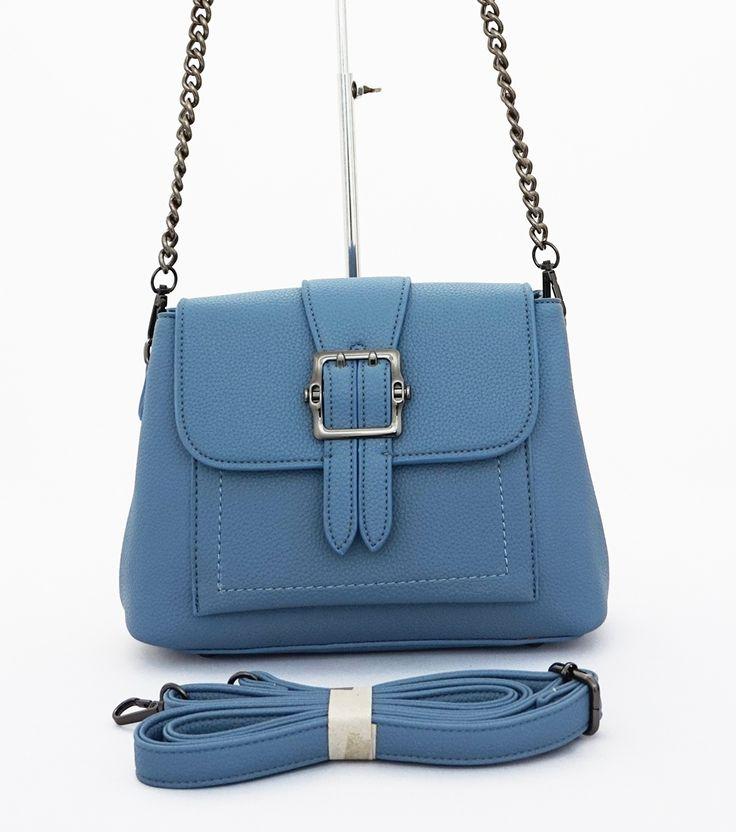 Helena Korean Bag, casual elegan. Good quality. Ada 2 sap utama dan 2 tali, rantai bahu dan tali panjang. Warna biru. Uk 25x9x18