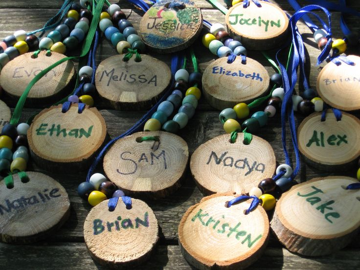 name tags, we did this for our Day Camp and the girls LOVED them.  Still have mine.