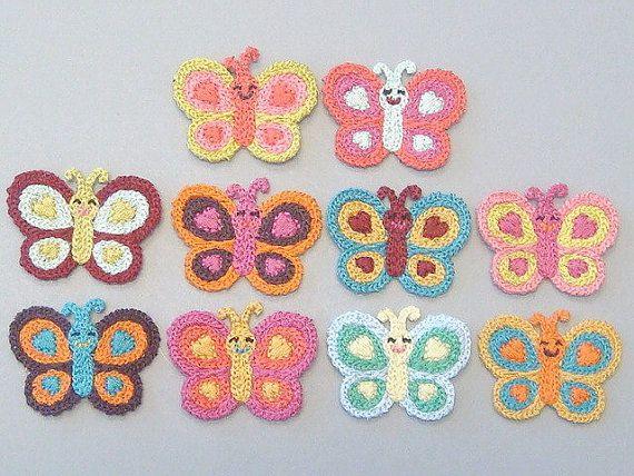 10 Crochet Butterfly Appliques 10 Colors EA204 от twpmango на Etsy, $4.50