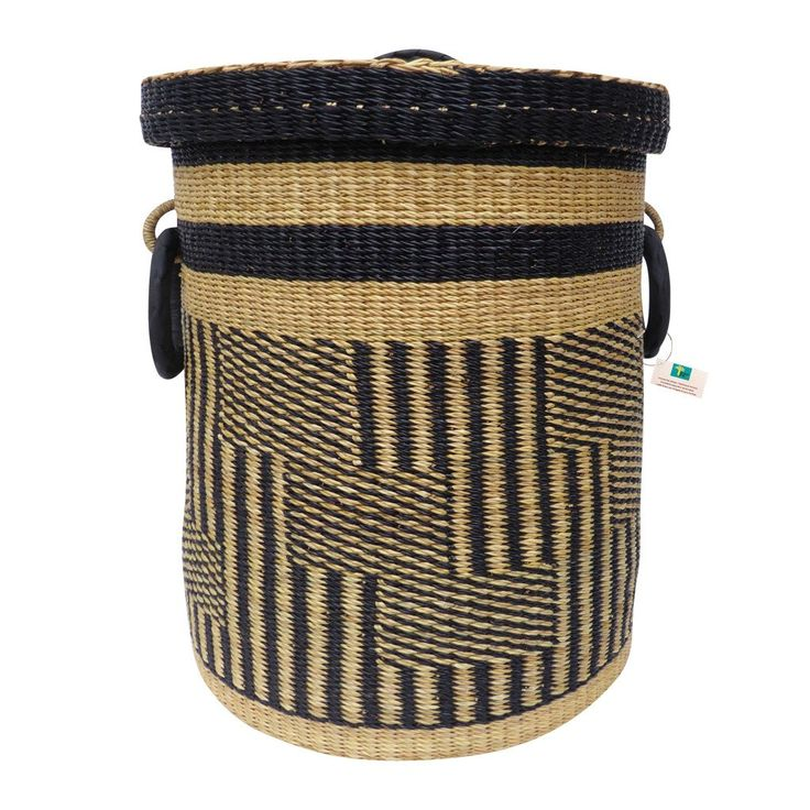 Patterns Black Laundry Basket