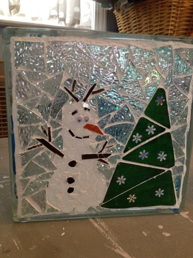 Frozen Snowman Mosaic Glass Block Night Light My Mosaics