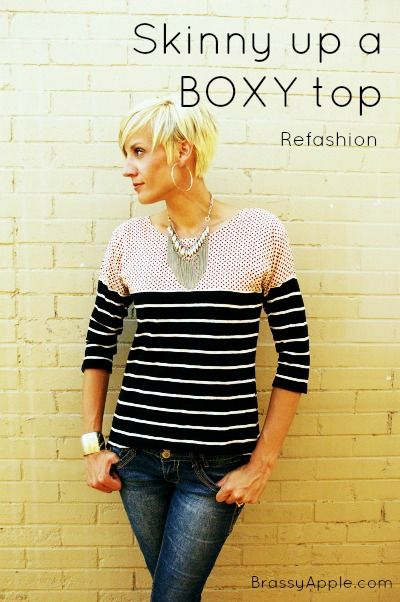 Refashion a wide top to be flattering - BrassyApple.com #sewing #refashion #tshirt