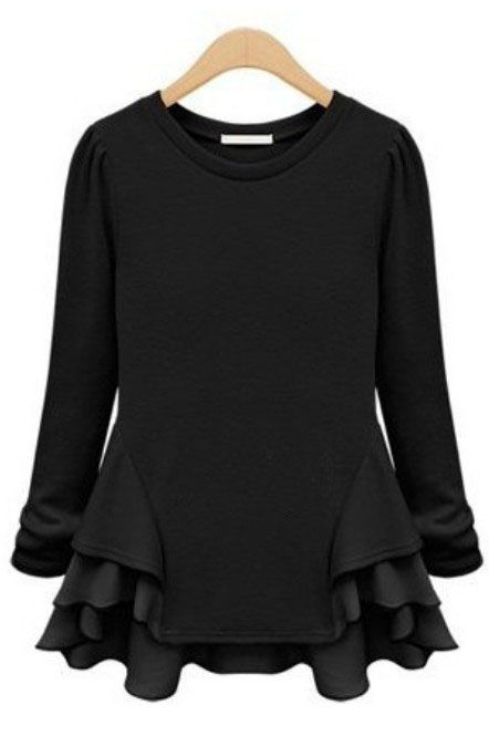 Camiseta gasa volantes mangas largas-Negro 11.80