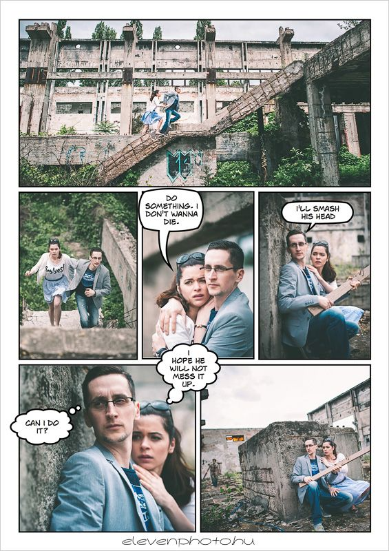 Horror themed comic-book style engagement shoot. What comes next?!
