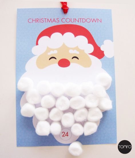 Get ready to countdown to Christmas with the kidswith this Santa Christmas Countdown Calendar. Print this instantprintable, then use cotton wool balls to make santa's beard… see the e…