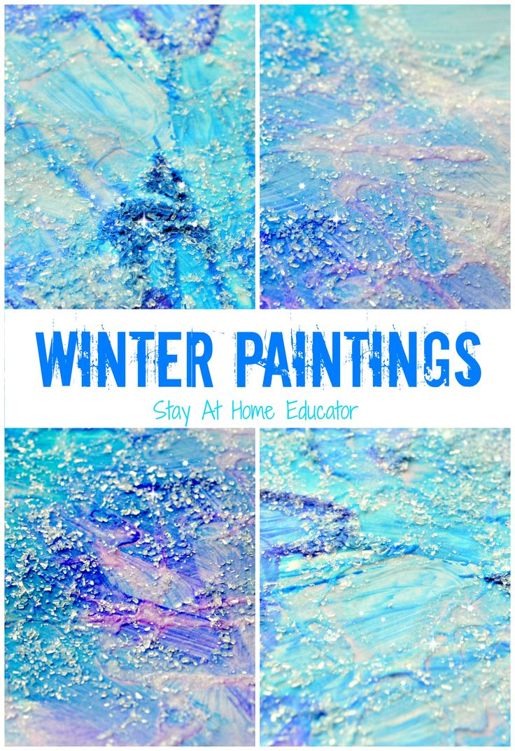 Tis The Season For Winter Themes In Preschool And These Mixed Medium Paintings