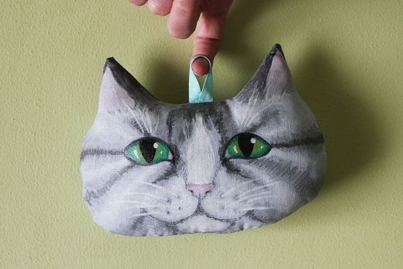 Hand Painted Tabby Cat Soft Sculpture Wall Hanging for Adult or Nursery Decoration €25.00, hand made in Ireland by me!