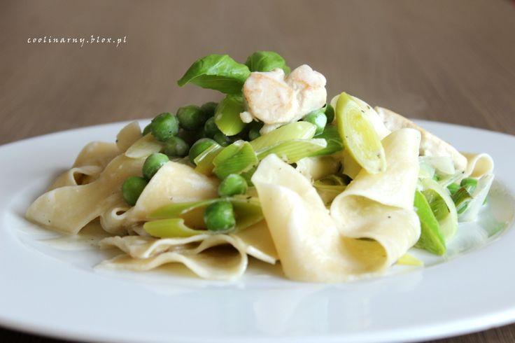 Obiad w 30 minut - Pappardelle w sosie śmietanowym z kurczakiem i zielonym groszkiem