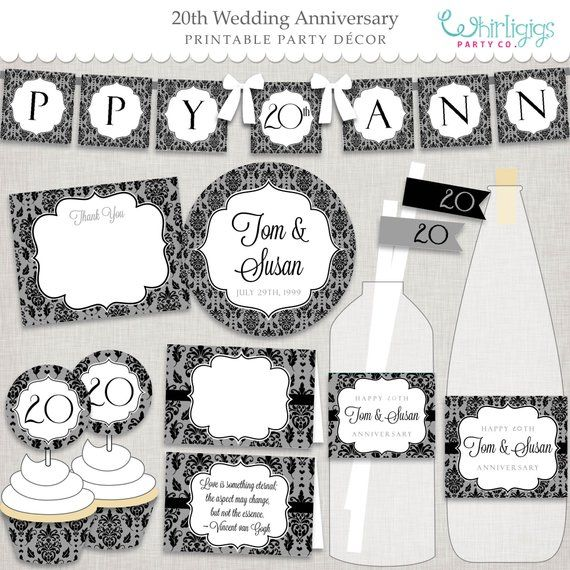 20th Anniversary Party Decorations Diy Elegant Black And Grey Damask Pa Handmade Party Favors Anniversary Party Decorations Diy Anniversary Party Decorations