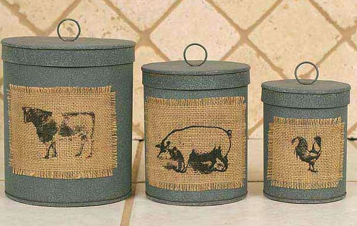 Decorating Mason Jars with Burlap | Three Primitive Canisters with Burlap Patches Stackable and Nestable