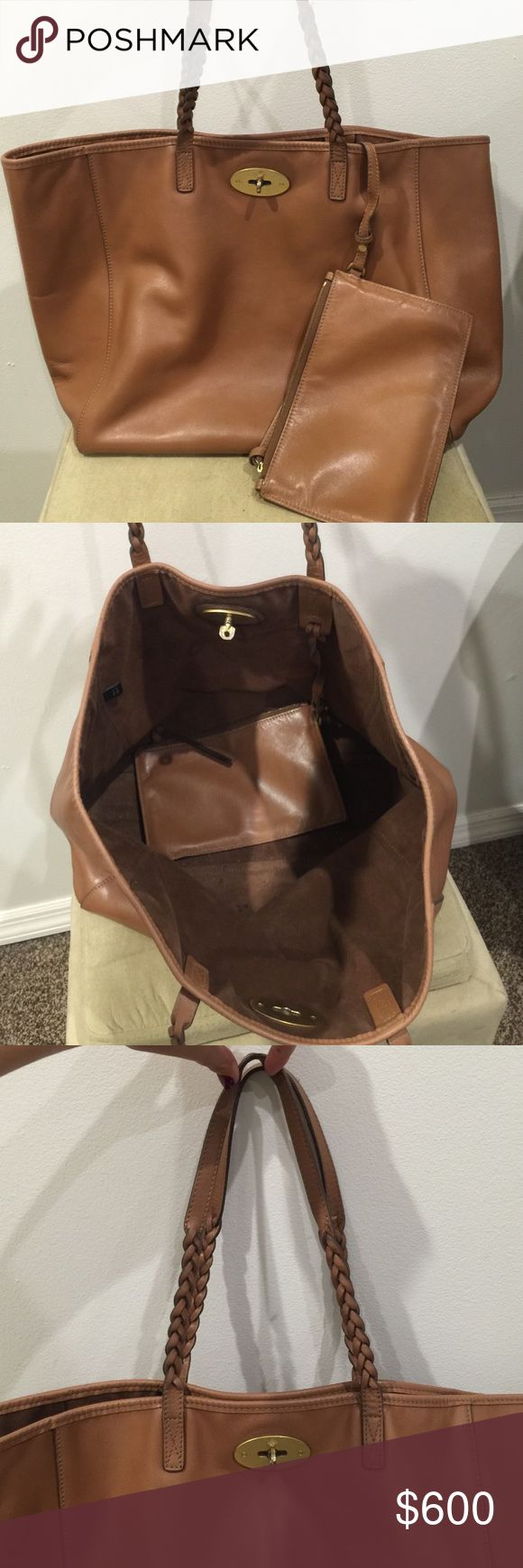 """Brown leather Mulberry Dorset tote bag. Lovingly worn authentic brown leather Mulberry bag.  The shoulder straps are braided. The leather is smooth and in excellent condition. The bag was stored in the original dust bag.  The dust bag seen in the picture will accompany the bag when purchased.  This is the Mulberry """"Dorset"""" bag. Mulberry Bags Totes"""