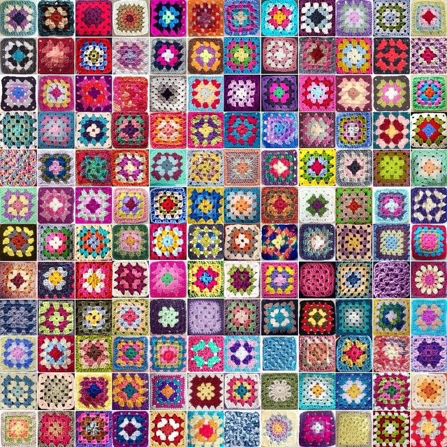 "mobiusgirl who explained, ""To celebrate the first, wildly successful Granny Square Day"" - #crochet"